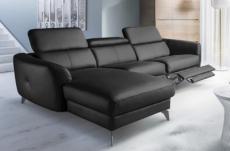 canapé d'angle relax en cuir de luxe italien avec relax électrique, 5 places bertoni, noir, angle gauche