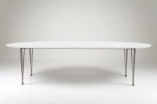 table à manger design laqué blanc à rallonges, besina