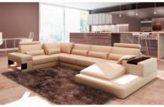 canapé d'angle en cuir italien 7 places best, beige