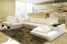 canapé d'angle en cuir italien 7 places best, blanc