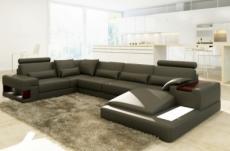 canapé d'angle en cuir italien 7 places best, gris foncé