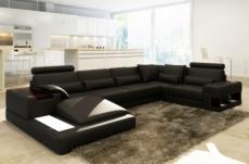 canapé d'angle en cuir italien 7 places best, noir