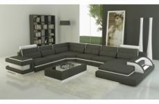 canapé d'angle en cuir italien 7/8 places bestof, gris foncé et blanc