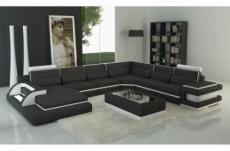 canapé d'angle en cuir italien 7/8 places bestof, noir et blanc