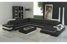 - canapé d'angle en cuir italien 7/8 places bestof, noir et blanc