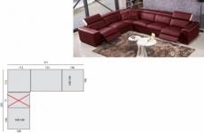 solde de paiement commande sur mesure personnalisee sur demande du client avec une assise en moins de 77cm, canapé d'angle double relax électrique en cuir de buffle italien de luxe 7/8 places bestrelax bordeaux et blanc, angle gauche, 6x sans frais, total