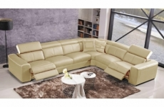 canapé d'angle double relax électrique en cuir de buffle italien de luxe 7/8 places bestrelax, beige et blanc, angle droit, table offerte