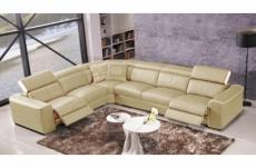 canapé d'angle double relax électrique en cuir de buffle italien de luxe 7/8 places bestrelax beige et blanc, angle gauche, table offerte