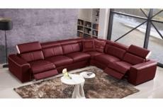 canapé d'angle double relax électrique en cuir de buffle italien de luxe 7/8 places bestrelax, bordeaux et blanc, angle droit