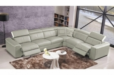 canapé d'angle double relax électrique en cuir de buffle italien de luxe 7/8 places bestrelax, gris clair et blanc, angle droit, table offerte