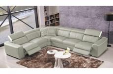 canapé d'angle double relax électrique en cuir de buffle italien de luxe 7/8 places bestrelax gris clair et blanc, angle gauche, table offerte