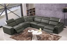 canapé d'angle double relax électrique en cuir de buffle italien de luxe 7/8 places bestrelax gris foncé et blanc, angle gauche, table offerte