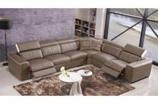 canapé d'angle double relax électrique en cuir de buffle italien de luxe 7/8 places bestrelax, moka et blanc, angle droit, table offerte