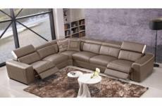 canapé d'angle double relax électrique en cuir de buffle italien de luxe 7/8 places bestrelax moka et blanc, angle gauche, table offerte