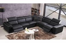 canapé d'angle double relax électrique en cuir de buffle italien de luxe 7/8 places bestrelax, noir et blanc, angle droit, table offerte