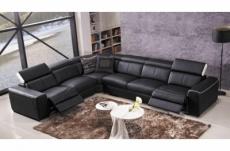 canapé d'angle double relax électrique en cuir de buffle italien de luxe 7/8 places bestrelax noir et blanc, angle gauche, table offerte