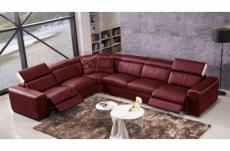 canapé d'angle double relax électrique en cuir de buffle italien de luxe 7/8 places bestrelax bordeaux et blanc, angle gauche
