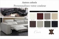 canapé d'angle double relax électrique en cuir de buffle italien de luxe 7/8 places bestrelax, coulleurs personnalisées, angle droit, table offerte