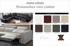 canapé d'angle double relax électrique en cuir de buffle italien de luxe 7/8 places bestrelax couleurs personnalisées, angle gauche, table offerte