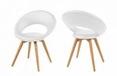 lot de 2 chaises plaisance en simili cuir, blanc