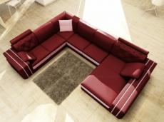 canapé d'angle en cuir italien 8 places bentley, bordeaux et blanc