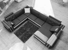 canapé d'angle en cuir italien 8 places bentley, noir et blanc