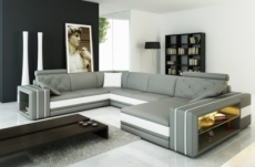 canapé d'angle en cuir italien 8 places bentley, gris clair et blanc