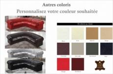 canapé d'angle en cuir italien 6/7 places bijou, couleur personnalisée.