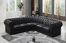 canapé d'angle en cuir italien 6/7 places bijou, noir.