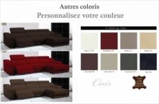 canapé d'angle double relax en cuir de buffle italien de luxe 5 places birelax, couleur personnalisée, angle droit.