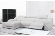 canapé d'angle double relax en cuir de buffle italien de luxe 5 places birelax, blanc, angle gauche