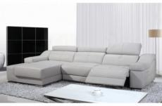 2eme paiement de la commande: canapé d'angle double relax en cuir de buffle italien de luxe 5 places birelax, blanc, angle gauche, 6x sans frais, total de la commande : 1998 euros