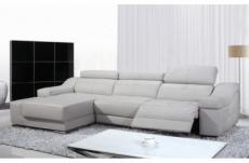 - canapé d'angle double relax en cuir de buffle italien de luxe 5 places birelax, blanc, angle gauche