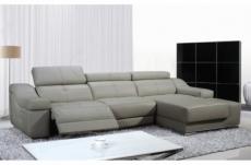 canapé d'angle double relax en cuir de buffle italien de luxe 5 places birelax, gris clair, angle droit.