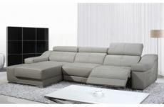 canapé d'angle double relax en cuir épais de buffle italien de luxe 5 places birelax, gris clair, angle gauche