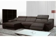 - canapé d'angle double relax en cuir de buffle italien de luxe 5 places birelax, chocolat, angle gauche
