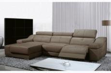 canapé d'angle double relax en cuir de buffle italien de luxe 5 places birelax, moka, angle gauche
