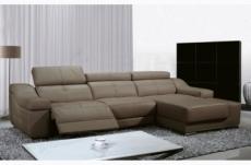 canapé d'angle double relax en cuir de buffle italien de luxe 5 places birelax, moka, angle droit.