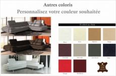 canapé d'angle en cuir italien 6 places birkin, couleur personnalisée