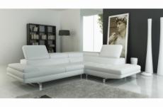 canapé d'angle en cuir italien 6 places birkin, blanc
