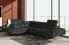 canapé d'angle en cuir italien 6 places birkin, gris foncé.