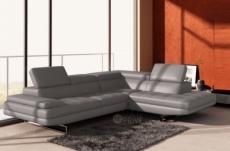 canapé d'angle en cuir italien 6 places birkin, gris clair.