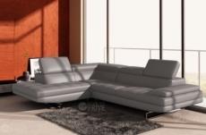 canapé d'angle en cuir italien 6 places birkin, gris clair