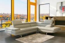 canapé d'angle en cuir italien 6 places birkin, ivoire
