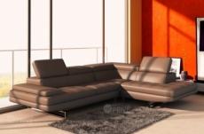 canapé d'angle en cuir italien 6 places birkin, marron