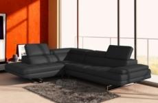 canapé d'angle en cuir italien 6 places birkin, noir.