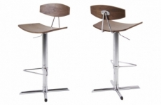 lot de 2 tabourets design bois et chrome, blunt