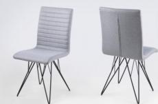 lot de 2 chaises design tissu gris, bling