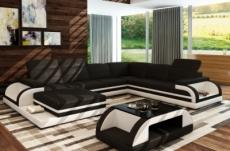 2eme paiement de la commande: canapé d'angle bolzano en cuir haut de gamme italien vachette casanoti (inverse photo: méridienne à gauche vu de face), noir et blanc. total de la commande 2398 euros