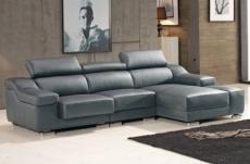 canapé d'angle cuir buffle italien bonito, couleur gris foncé, angle droit